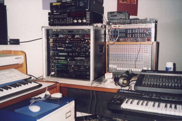 The Gua studio set up around 1994-95. Roland D-70 and D 50. Run by a Mac, and Performer software